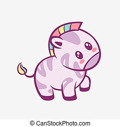 Zebra kawaii cartoon. Smiling funny little zebra with rainbow mane and touched anime style.