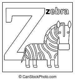 Zebra, letter Z coloring page