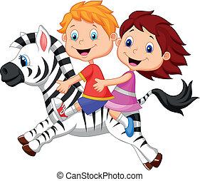 zebra, menino, menina, caricatura, montando