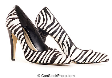 zebra, muster, hohe fersenschuhe, ausschneiden