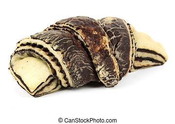 zebra, patrón, croissant