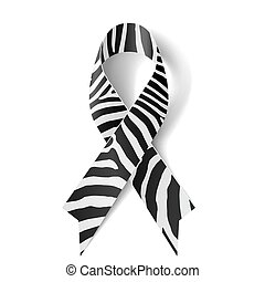 Zebra-print ribbon as symbol of rare-disease awareness, ...
