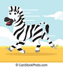 zebra, rennender