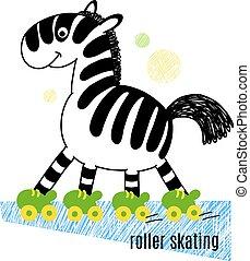 Zebra roller skating vector illustration.