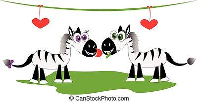 zebra, romantique coupler