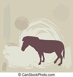 Zebra silhouette on grunge background. vector
