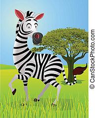 zebra, tecknad film, in, den, djungel