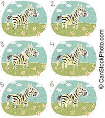 zebra, visual, juego