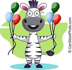 Zebra with balloons, illustration, vector on white background.