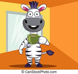 Zebra with coffee, illustration, vector on white background.