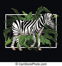 Zebra with leaves around