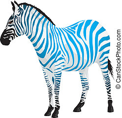 Zebra with strips of blue color. Vector illustration.
