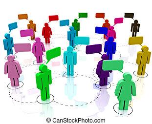 zebranie, sieć, towarzyski