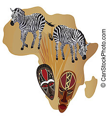 Zebras and African Masks - Illustration with Africa map and ...