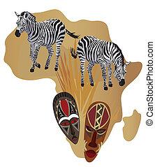 zebras, máscaras, africano