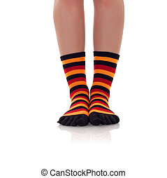 zebrine, mujer, piernas, calcetines