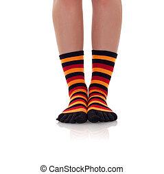 zebrine, mulher, pernas, meias