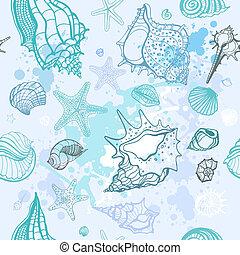 zee, achtergrond., hand, getrokken, vector, illustratie