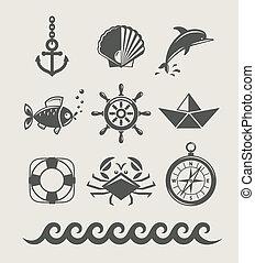 zee, en, marinier, symbool, set, van, pictogram