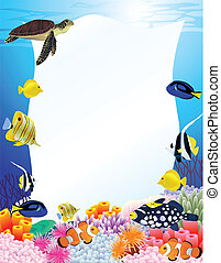 zee leven, achtergrond, met, leeg teken