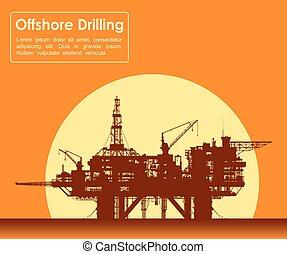 zee, olie, rig., voor de kust boren, platform.