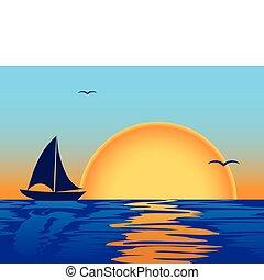 zee, ondergaande zon , met, scheepje, silhouette