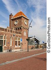zee, pays-bas, station, zandvoort, aan, train