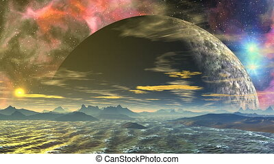 zee, reusachtig, planeet, en, nebula