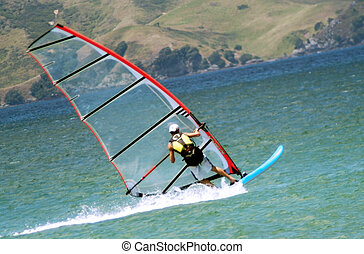 zee, sportende, -, windsurfing