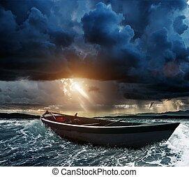 zee, stormachtig, houten boot