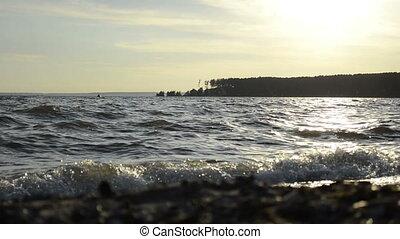 zee water, oppervlakte, op, de hemel van de zonsondergang
