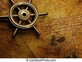zee, wiel, op, de, oud, papier