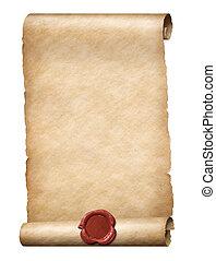zeehondje, koninklijk, illustratie, was, parhment, boekrol, rood, 3d