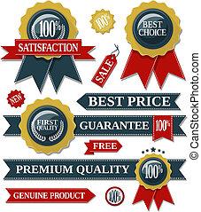 zeehondje, linten, kwaliteit, etiketten