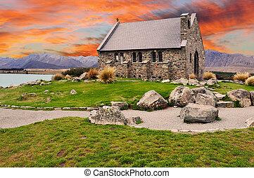 zeeland, herdershond, goed, op, -, meer tekapo, ondergaande zon , kerk, nieuw
