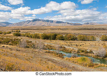 zeeland, herfst, tekapo, mackenzie land, nieuw, rivier