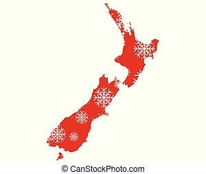 zeeland, kaart, snowflakes, nieuw