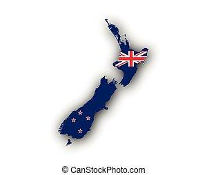 zeeland, kaart, vlag, nieuw