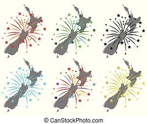 zeeland, kaart, vuurwerk, nieuw