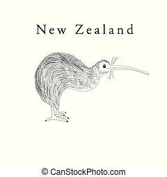 zeeland, kiwi, symbool, vector, grafiek, nieuw, vogel