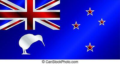 zeeland, kiwi, vlag, kanttekening, nieuw