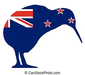 zeeland, kiwi, vlag, silhouette, nieuw
