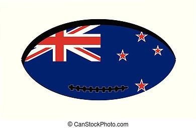 zeeland, nieuw, bal, vlag, rugby
