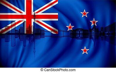 zeeland, nieuw, skyline, vlag, auckland