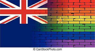 zeeland, regenboog, vrolijk, muur, vlag, nieuw