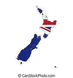 zeeland, silhouette, land, vrijstaand, vlag, achtergrond, nieuw, witte