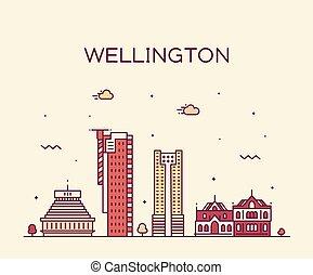 zeeland, stad, lineair, wellington, skyline, vector, nieuw