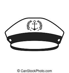 zeeman, pet, vrijstaand, pictogram