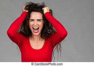 zeer, gefrustreerde, boze vrouw, gegil