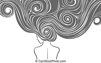 zeer, haren, vrouw, vormgeving, lang